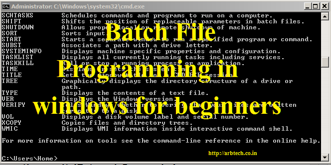Batch File Programming in windows for beginners