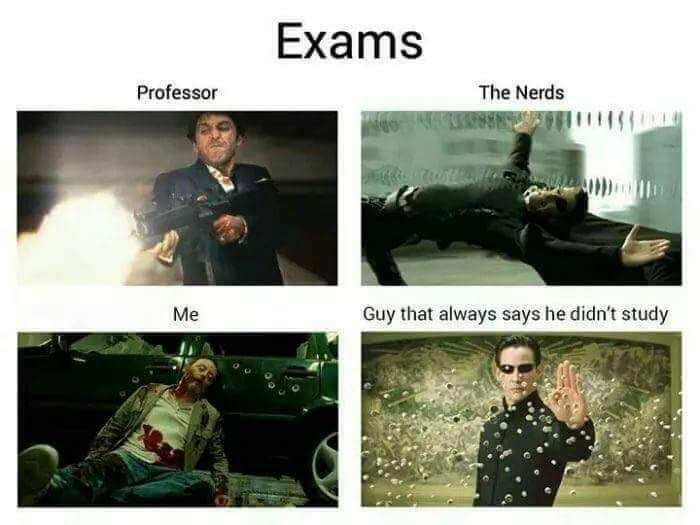 In exam-professor me nerd and guy