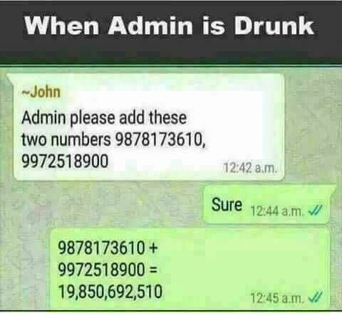 When admin is drunk
